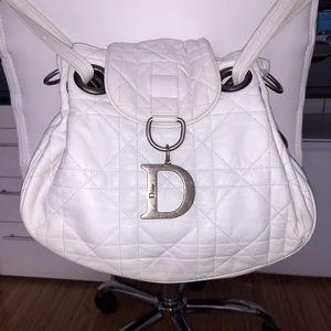 Christian Dior White Cannage Leather Shoulder Bag